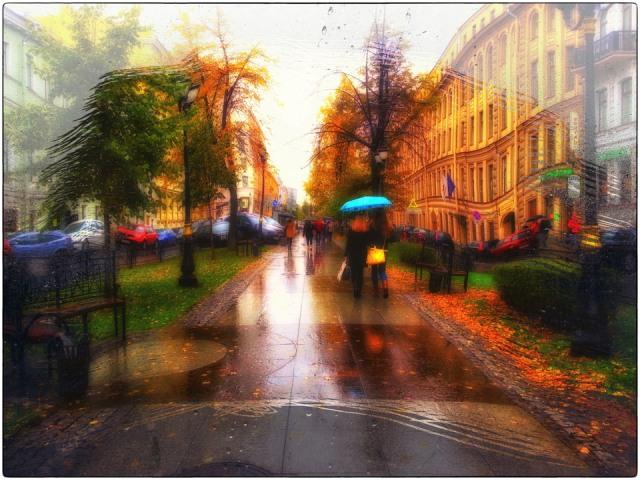 осінь дощ місто
