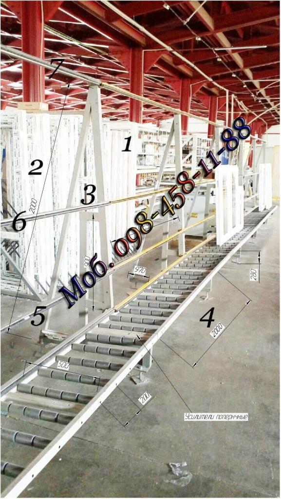 Многорядные конвейерные ролики на линии производства металлопластиковых окон.