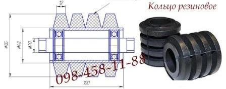 Конвейерные ролики футерованные резиновыми кольцами.
