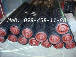Конвейерные ролики футерованные резиновыми кольцами. Диаметр кольца 127 , диаметр ролика 108.